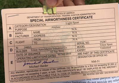 Skytrek's FAA Special Airworthness certificate